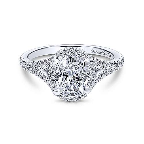 Gabriel & Co. 14K White Gold Oval Halo Diamond Engagement Ring