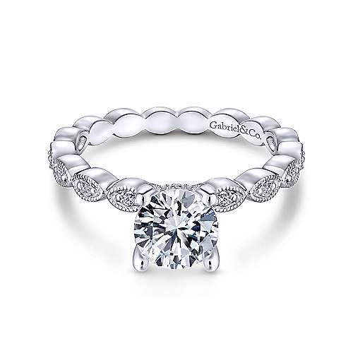Gabriel & Co. 14K White Gold Round Diamond Engagement Ring