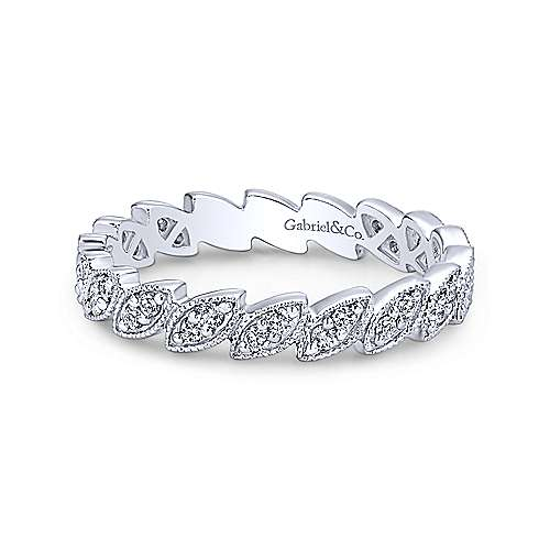Gabriel & Co. 14K White Gold Scalloped Marquise Stackable Diamond Ring