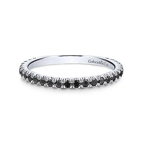 Gabriel & Co. 14K White Gold Stackable Black Diamond Ring