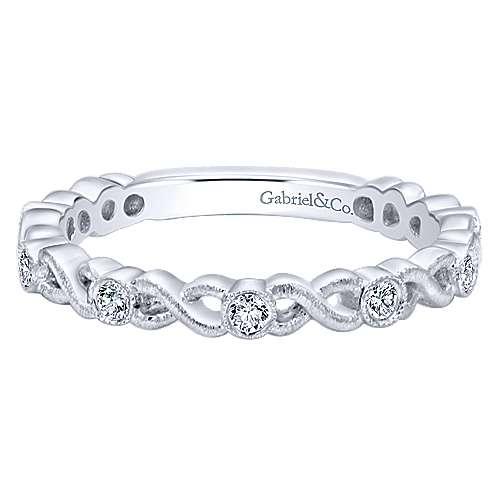 Gabriel & Co. 14K White Gold Twisted Bezel Set Stackable Diamond Band