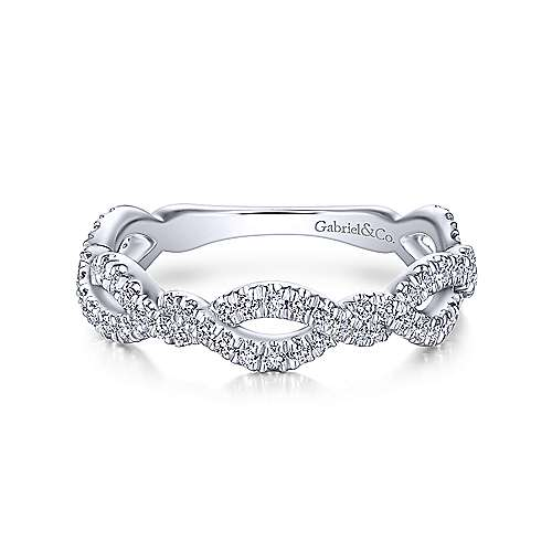Gabriel & Co. 14K White Gold Twisted Pave Diamond Stackable Ring
