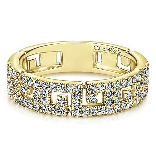 Gabriel & Co. 14K Yellow Gold Greek Key Diamond Band