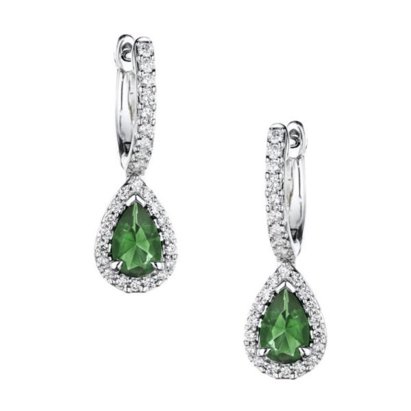 Fana 14K White Gold Emerald Diamond Earrings