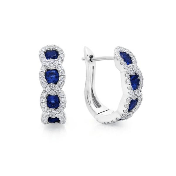 Fana 14K White Gold Sapphire Diamond Earrings
