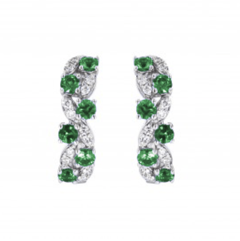 Fana 14K White Gold Emerald Diamond Earrings