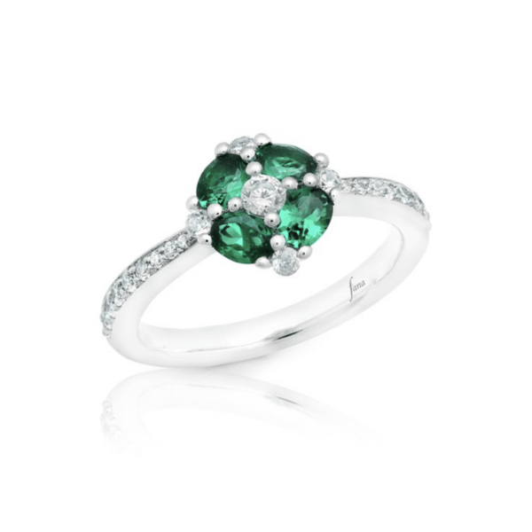 Fana 14K White Gold Emerald Diamond Fashion Ring