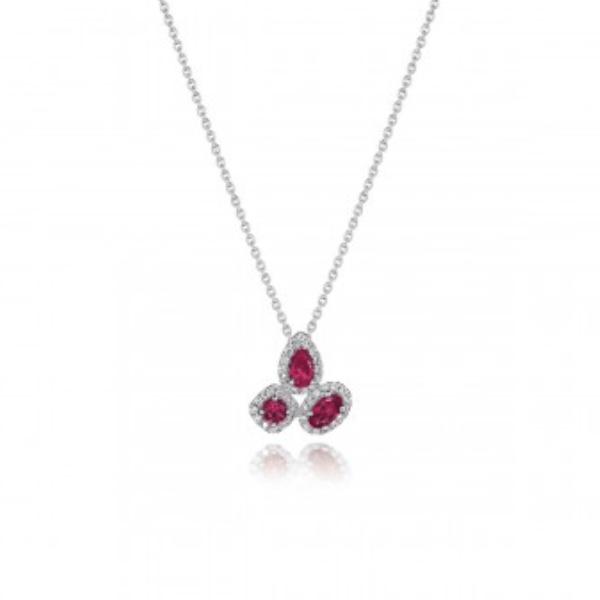 Fana 14K White Gold Ruby Diamond Necklace