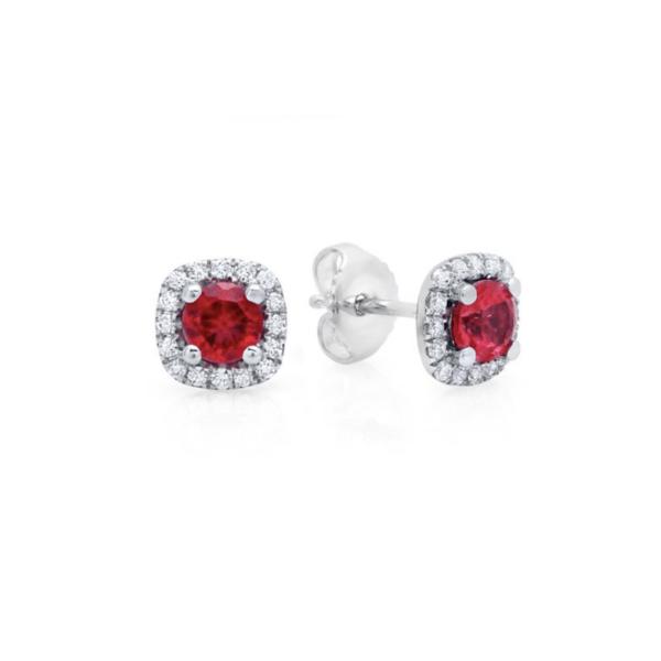 Fana 14K White Gold Ruby Diamond Earrings