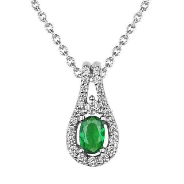 Fana 14K White Gold Emerald Diamond Pendant