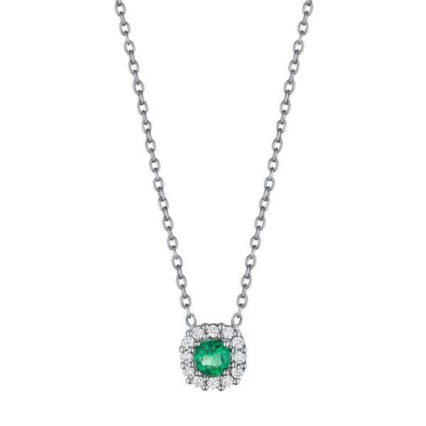 Fana 14K White Gold Emerald Diamond Pendant Necklace