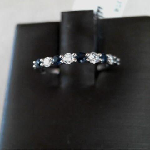 MWI Eloquence 14K White Gold Diamond & Sapphire Wedding Band