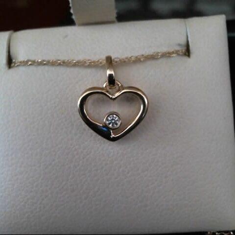 MWI Eloquence 14K Yellow Gold Diamond Heart Pendant